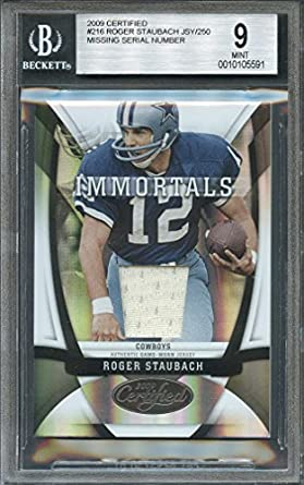 new style 92f58 bd850 Amazon.com: 2009 certified #216 ROGER STAUBACH JSY jersey ...
