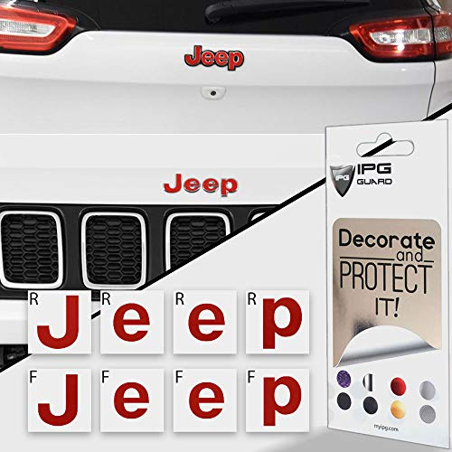 IPG for Jeep Compass MP 2017-2019 Front and Rear Emblem Overlay Decal Stickers - Emblem Do it Yourself Stickers Set Personalize Your Jeep (Pearl Red) ()