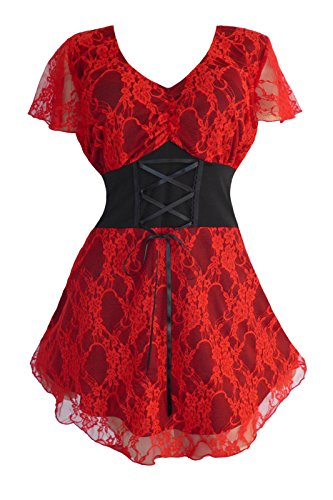 Dare to Wear Victorian Gothic Boho Women's Plus Size Sweetheart Corset Top Scarlet 4X -