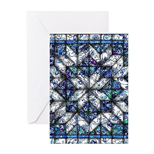 Quilt Note - CafePress - Blue Onion Quilt Greeting Cards - Greeting Card (10-pack), Note Card with Blank Inside, Birthday Card Glossy