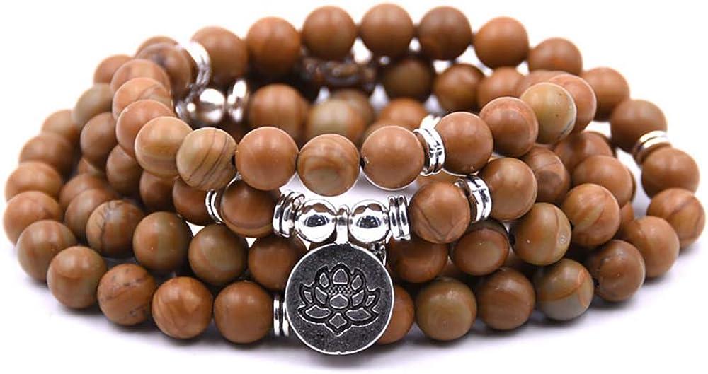 Self-Discovery 108 Natural Beads Mala Yoga Bracelet with Lotus Charm