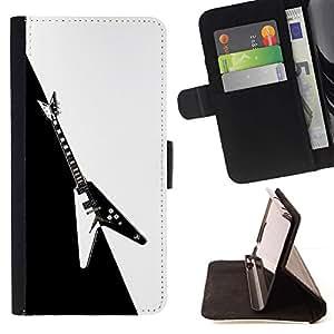 Momo Phone Case / Flip Funda de Cuero Case Cover - Guitarra Heavy Metal Rock Negro Blanco - Samsung Galaxy Note 5 5th N9200