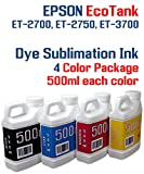 Dye Sublimation Ink 4 Multi Color 500ml bottles - EcoTank ET-2700, ET-2750, ET-3700
