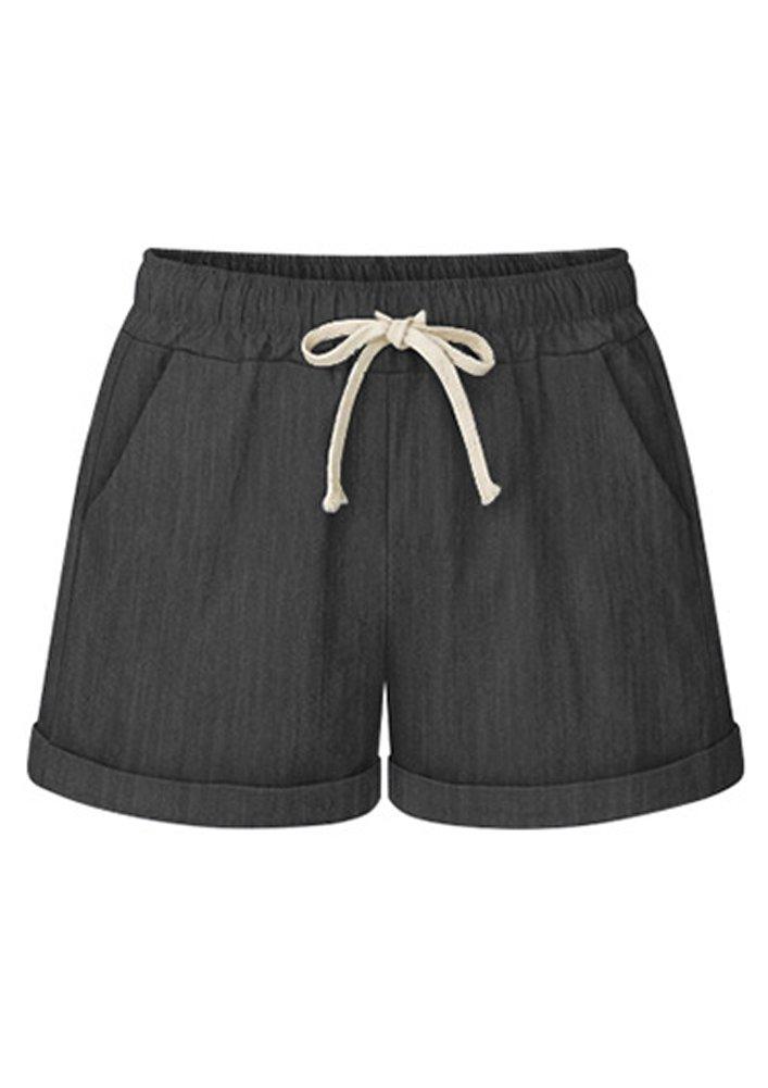 FunkyAmy Women's Activewear Yoga Lounge Shorts with Pockets Denim Black M