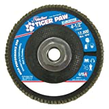 Weiler 51166 Tiger Paw XHD Super High Density Abrasive Flap Disc, Type 27 Flat Style, Phenolic Backing, Zirconia Alumina, 4-1/2'' Diameter, 5/8''-11 Arbor, 60 Grit, 12000 RPM (Pack of 10)