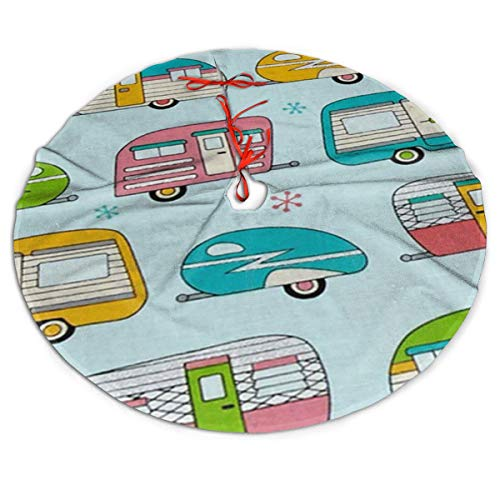 GUIYTQ5R On The Road Metallic Campers Christmas Tree Skirt, Tree Skirt for Christmas Xmas Tree Decorations Holiday Decoration Indoor Outdoor