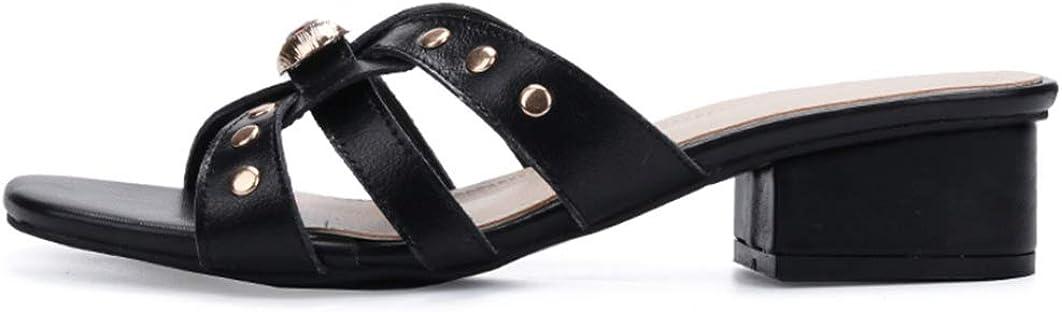 Zapatillas De Tacón Cuadrado para Mujer Zapatos De Verano con Tacón Medio y Punta Abierta Zapatos De Fiesta Casuales Señoras Sandalias Sin Cordones