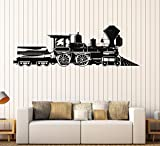 Vinyl Decal Train Locomotive Steam Railway Kids Room Wall Stickers Mural (083ig) Pink
