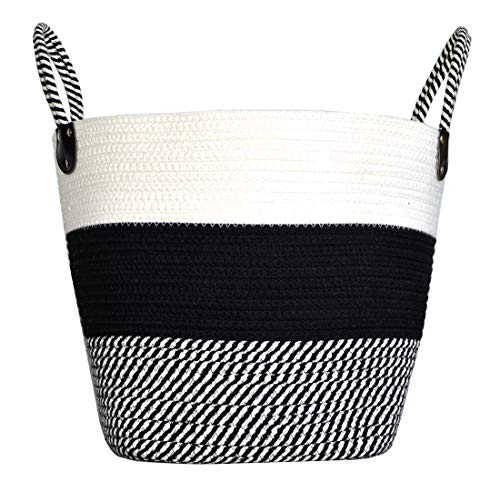 NINIPANDA&LEE Black and White Cotton Rope Woven Storage bin,Storage Basket for Clothes, Blanket, Toys, Laundry Bin with Black and White Striped, Laundry Basket with Handles(13.5''x15''x12.5'')