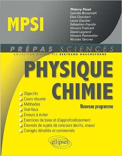 Physique chimie MPSI : nouveau programme