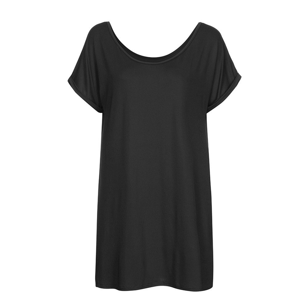 ESAILQ Dress, Womens Plus Size Casual Solid Cold Shoulder Short Night Wear: Amazon.co.uk: Clothing