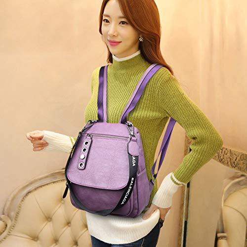 Il Flap A Purple College Pu Coulisse Borsa Daypack Le Casual Da Schoolbag Fibbia In Moda Donne Tracolla Pelle purple Con Per Viaggio Zaino PwqOB