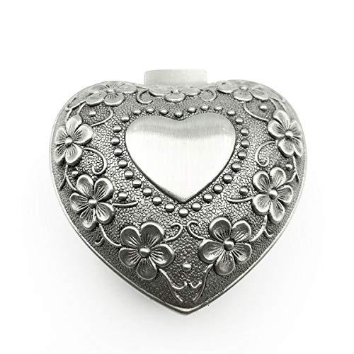 favoramulet Vintage Rose Flower Heart Jewelry Box, Small Trinket Case Storage Organizer
