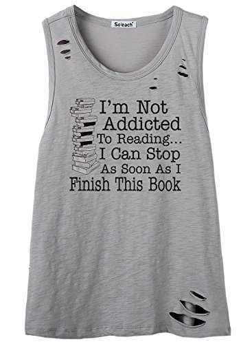 So'each Women's I'm Not Addicted Graphic Hole Tee T-Shirt Cami Tank Top