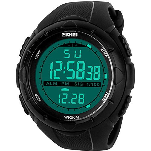 Gosasa Men's 3857548 Military Style Digital LCD Display Black Wrist Watch