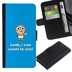 KingStore / Leather Etui en cuir / Sony Xperia Z1 Compact D5503 / Divertido Mensaje bebé Texto Madre Mamá