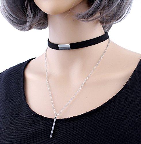 Women'S Simple Fashion Black Velvet Strip Choker Short Beads Pendant Necklace Random 3 Pcs (black) ()