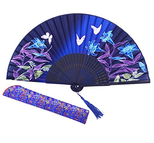 Amajiji 8.27 Chinease/Japanese Hand Held Silk Folding Fan with Bamboo Frame,Hollow Carve Patterns Bamboo Frame Women Hand Folding Fans Hand Fan Gift fan Craft fan Folding Fan Dance Fan (HBSY-24)