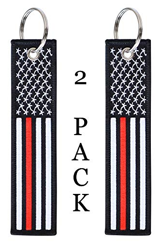 American Flag Keychain Tag with Key Ring and Carabiner – Fireman Firefighter – Keys, Cars, Motorcycles, Backpacks…