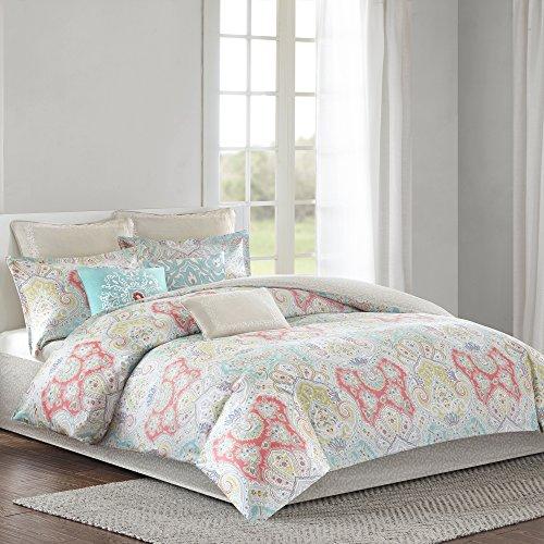 Echo Design Cyprus Comforter Set Twin Size - Aqua, Blush, Demask – 3 Piece Bed Sets – 100% Cotton Sateen Teen Bedding for Girls Bedroom