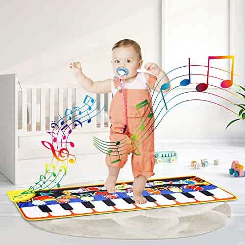 DONGKER Musical Piano Mat Kids Piano Keyboard Educational Music Play mat Carpet 8 Musical Instruments, Demo Songs,19 Keys,Build-in Speaker & Recording Function for Toddler Kids Girls Boys