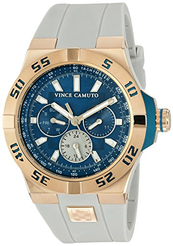 Vince Camuto Men's VC/1010SBRG The Master Multi-Function White Silicone Strap (Multifunction Master)