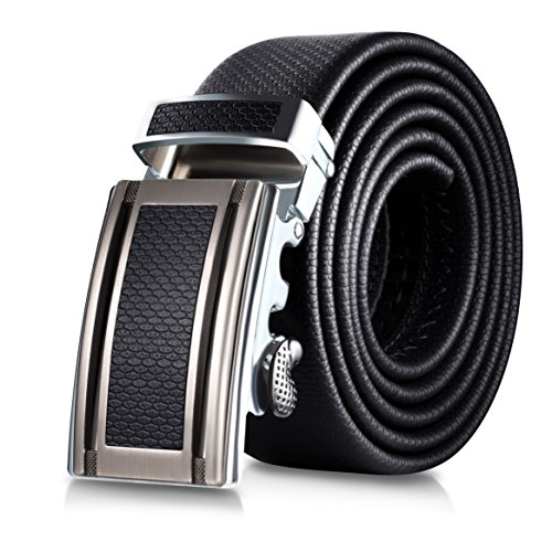 Mio Marino Classic Ratchet Belt - Premium Leather - 1.38 Wide - Adjustable Buckle - Free Gift Box