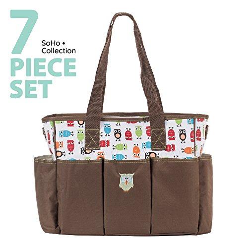 SoHo diaper bag Soren The Owls 7 pieces set nappy tote bag f