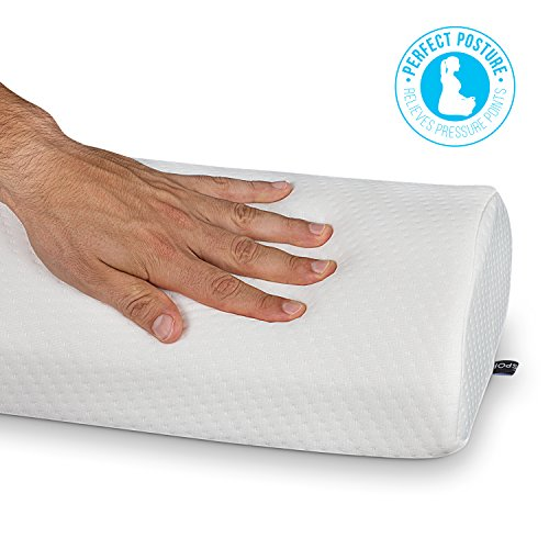 Abco Tech Half Moon Pillow Bolster - Pain Relief Memory Foam Cushion with Removable/Washable Cotton Cover – Reduced Stress on Spine, Effective Support for Side and Back Sleepers etc. (White) by Abco Tech (Image #5)
