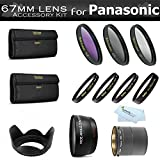 Essential Lens Kit For Panasonic Lumix DMC-FZ200, DMC-FZ200K Digital Camera Includes NecessaryTube Adapter + 67mm HD .43x Wide Angle Lens w/ Macro + 67MM Close Up Lens Kit Includes +1 +2 +4 +10 + 3pc High Res Filter Kit (UV-CPL-FLD) + Lens Hood + More