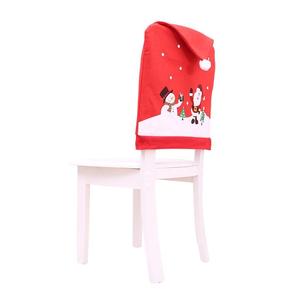 Decorazione natalizia Coperture per sedie Morbido Babbo Natale Pupazzo di neve Pattern Coprisedie Natale Cucina Sala da pranzo Hotel Decorazione del partito Rosso PROKTH