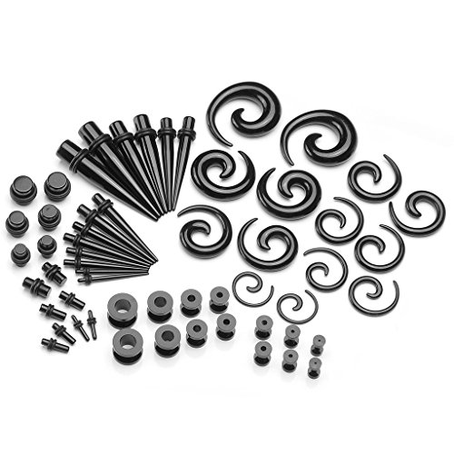 PiercingJ 56pcs 12G-00G Acrylic Tapers + Screw Tunnels + Plug with O Ring + Spiral Tapers Gauge Kit