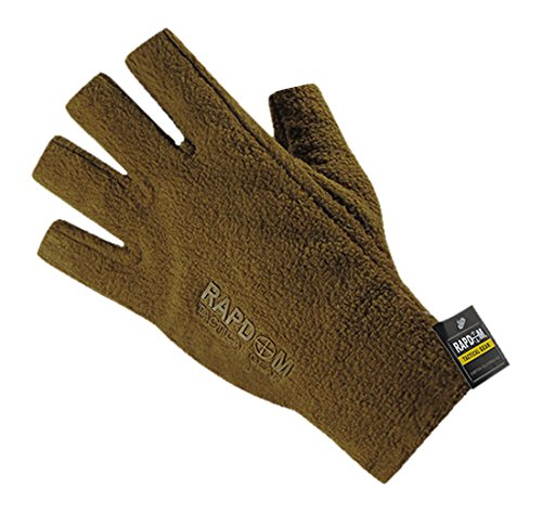 RAPDOM Tactical Polar Fleece Half Finger Gloves, Coyote, Medium by RAPDOM