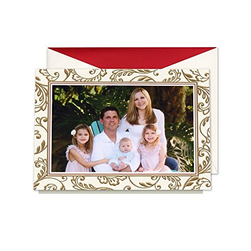 William Arthur Golden Scroll Border Holiday Photo Mount Card, Set of 20 Cards