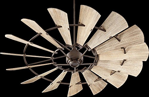Quorum 97215-86 Windmill Ceiling Fan in Oiled Bronze with Weathered Oak Blades 15 Inch Fan