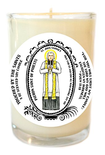 Saint John Vianney Patron of Priests 8 Oz Scented Soy Glass Prayer Candle by Touched By The Saints