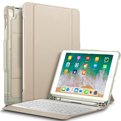 """IVSO New iPad 9.7"""" 2018/2017 Keyboard Case With Stylus Holder, Case with Keyboard(QWERTY Layout),Automatic Sleep/Wake DETACHABLE Bluetooth Keyboard Case for Apple New iPad 9.7 2018/2017/iPad Pro 9.7/iPad AIR 2/iPad AIR 9.7 inch Tablet, Gold"""