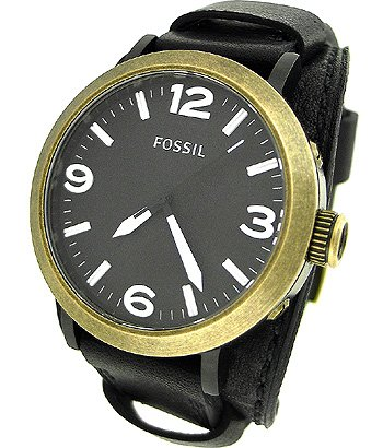 Fossil JR1367 Clyde Stainless Steel and Leather Watch, Black