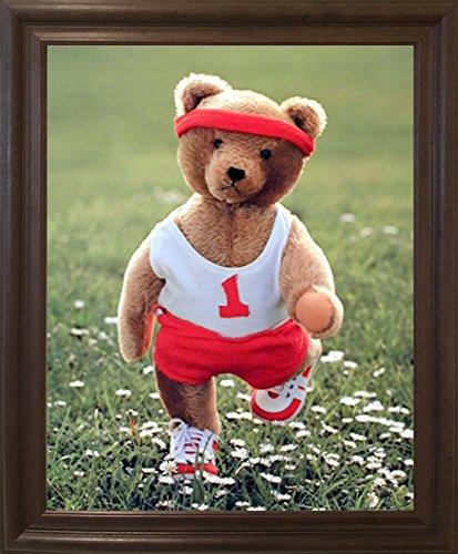 Impact Posters Gallery Framed Wall Picture Stuffed Cute Teddy Bear Jogging Kids Room Brown Rust Art Print (19x23)
