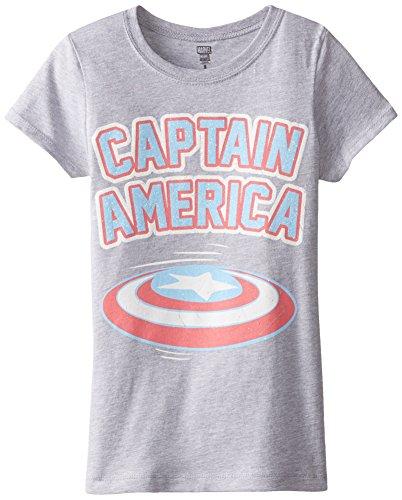 Marvel Big Girls' Captain America Shield Tee, Heather Grey, Medium