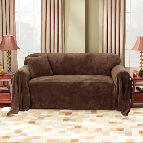Sure Fit Plush Throw Hemmed - Throw Slipcover  - Chocolate (SF37152)