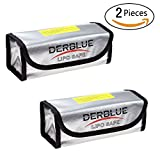 DerBlue 2pcs Fireproof Explosionproof Lipo Battery Safe Bag Lipo Battery Guard Safe Bag(185x75x60mm)
