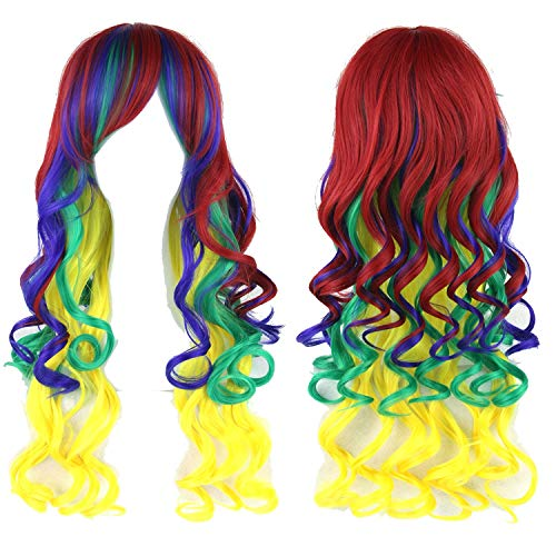 70cm Long Women Hair High Temperature Fiber Wigs Pink Blue Synthetic Hair Wig,T1B/613,28inches