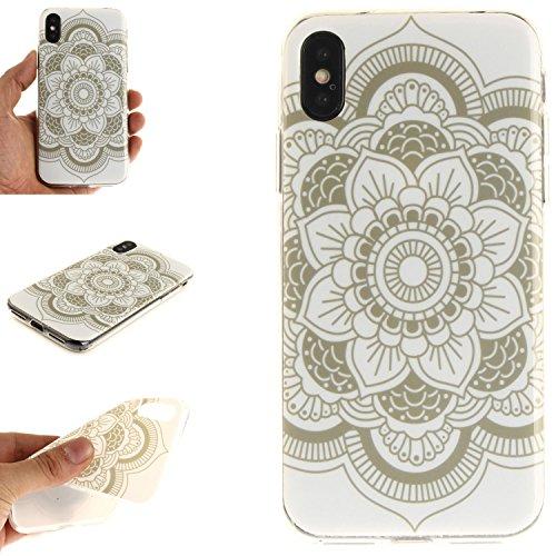 Custodia iPhone X , LH Fiori Bianchi TPU Silicone Cristallo Morbido Case Cover Custodie per Apple iPhone X