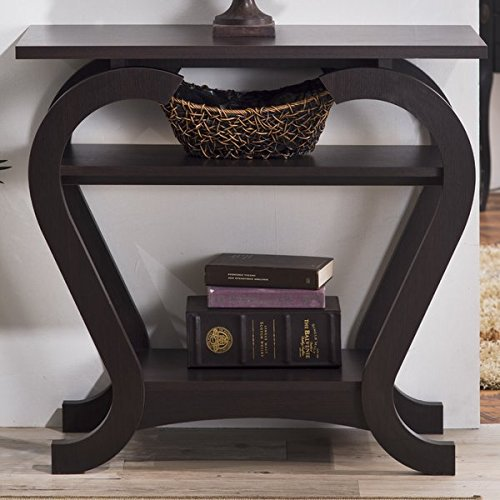 Elegant Console Table, Spacious Table Top, Open Shelving for Extra Storage and Display, Curving Leg Design, Solid Wood and Wood Veneers Construction, Espresso Finish