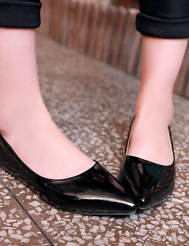 Oficina puntiaguda mujer shangyi Zehe LÄSSIG Guantes negro Amarillo Azul Zapatos damas para negro Vestido cerrados charol Negro Verde bailarinas plano tacón planas piel guantes 44vtwZ