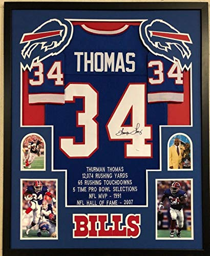 FRAMED BUFFALO BILLS THURMAN THOMAS AUTOGRAPHED SIGNED STAT JERSEY JSA COA - Framed Thurman Thomas Buffalo