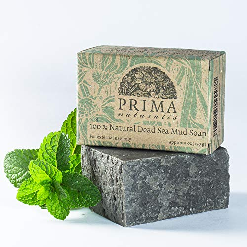 Handmade All Natural Herbal Dead Sea Mud Soap bar Christmas Gift Men Women (peppermint essential oil scent) SLS free Petrochemical free