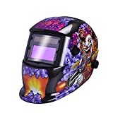 Nuzamas Solar Powered Auto Darkening Welding Helmet Mask Weld Face Protection for Arc Tig Mig Grinding Plasma Cutting with Adjustable Shade Range DIN4/9-13 UV/IV protection DIN16 Clown