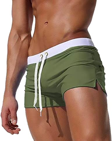 TONLEN Mens Swimwear Sports Shorts Swim Trunks with Zipper Pockets